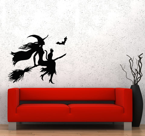 Wall Decal Halloween Witch Broom Black Cat Magic Flight Night Moon Vinyl Sticker Unique Gift (ed663)