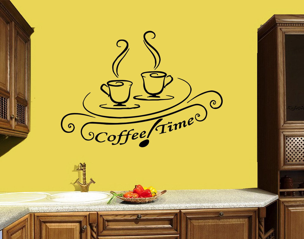 Wall Decal Coffee House Café Drink Cup Tea Kitchen Decor Vinyl ...
