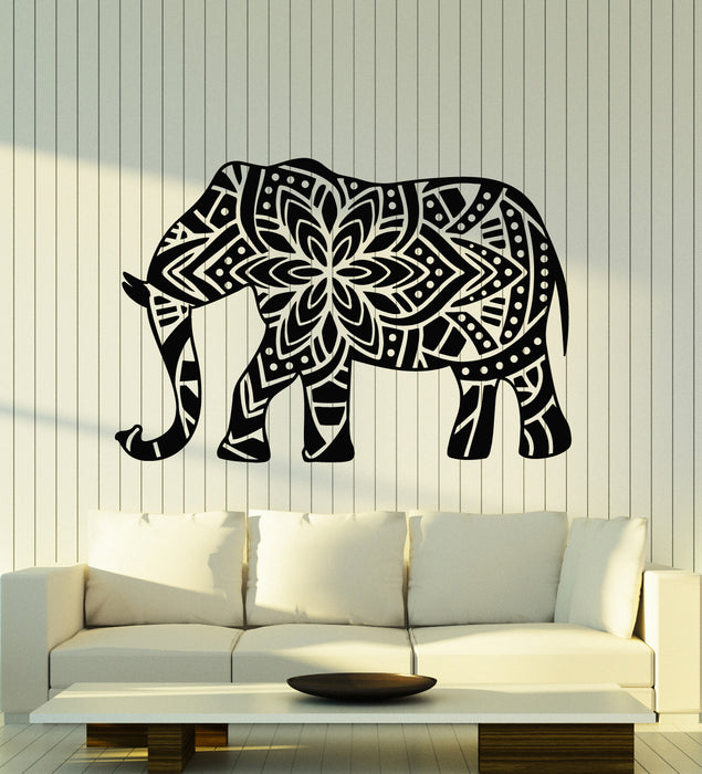 Vinyl Wall Decal Elephant Floral Ornament Ethnic Animal Nursery Decor Stickers Mural (g2422)