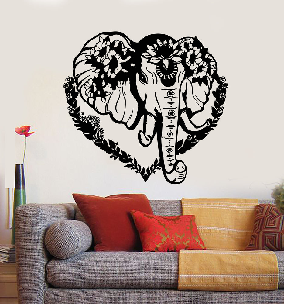 Vinyl Wall Decal Head Elephant Love Ornament Animal Flowers Stickers Mural (g694)