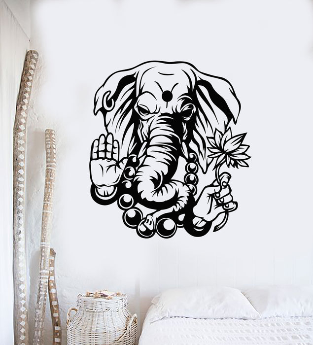 Vinyl Wall Decal God Ganesha Hindu Elephant Indian Deity Religion Stickers Mural (g863)