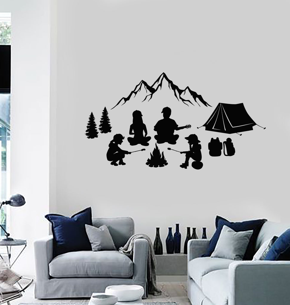 Vinyl Wall Decal Family Camping Campfire Outdoor Mountains Tent Decor  Stickers Mural (ig5567)
