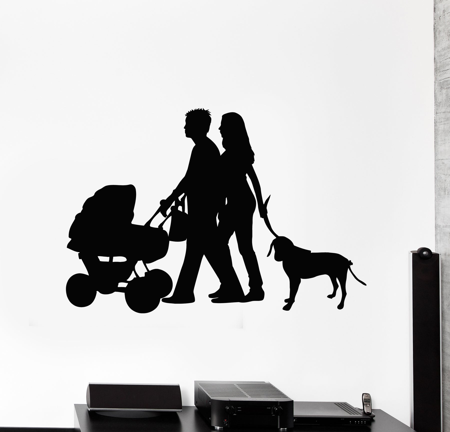 Vinyl Wall Decal Mom Dad Family Stroller Baby Dog Home Decor Stickers Mural (g2585)