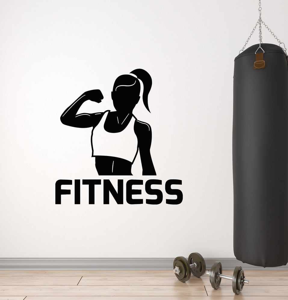 Vinyl Wall Decal Fitness Girl Sport Club Health Muscle Gym Stickers Mural (g1712)