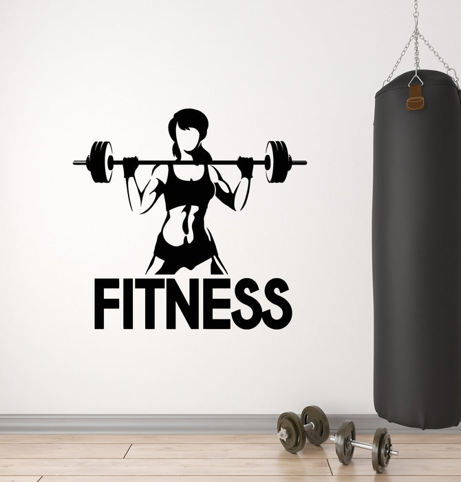 Vinyl wall decal fitness girl center home gym bodybuilding sports