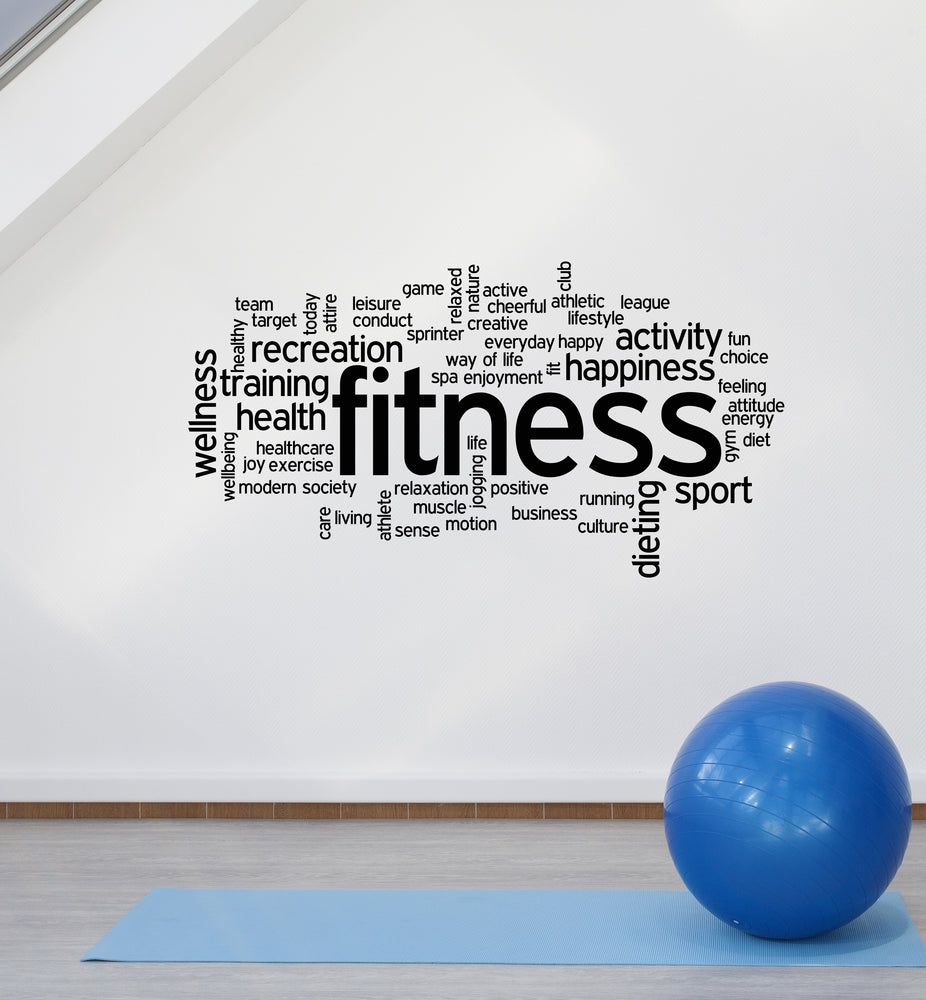 Vinyl Wall Decal Fitness Home Gym Center Health Wellness Words Stickers Mural (ig6181)
