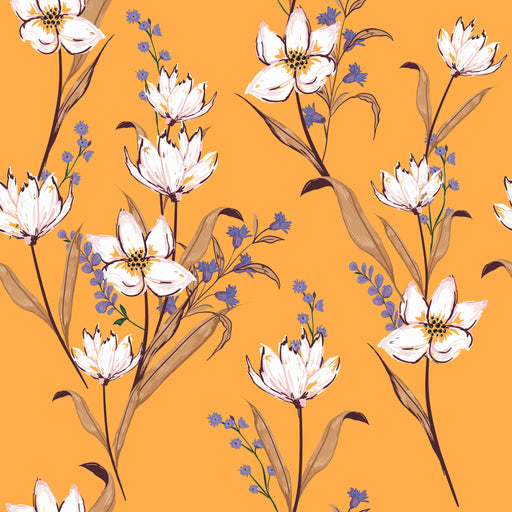 Wallpaper Reusable Removable Floral Yellow And White Interior Art Accent Wall wz002