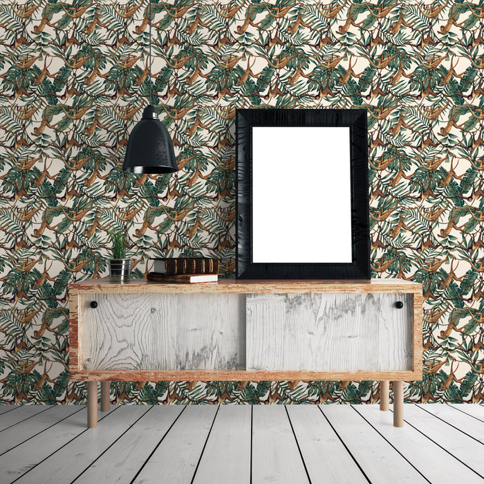 Jungle Monkeys Animals Multicolored Wallpaper Reusable Removable Accent Wall Interior Art (wal045)