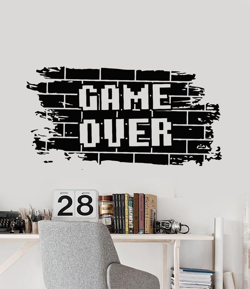 Vinyl Wall Decal Bricks Game Over Gaming Boys Play Room Video Games Stickers Mural (g2228)