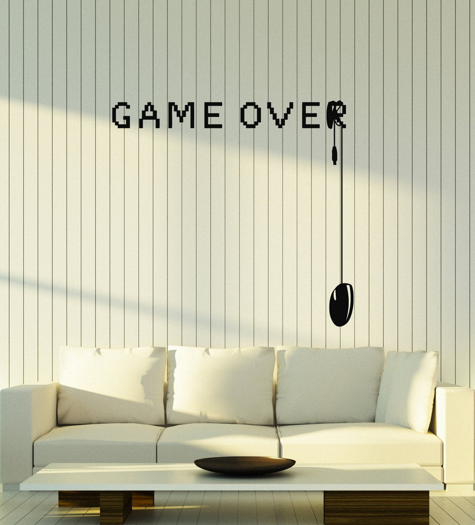 Game Over Vinyl Wall Decal Video Games Gamer Room Art Decor Stickers ...