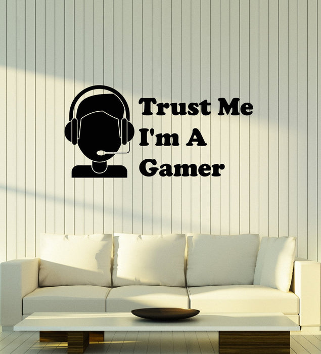 Details about  /Vinyl Wall Decal Gamer Headphones Quote Video Games Teen Room Stickers ig5260