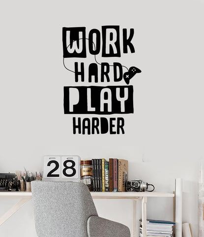 Gamer Quote Vinyl Wall Decal Video Game Work Hard Play Harder Art Stickers Mural (ig5308)