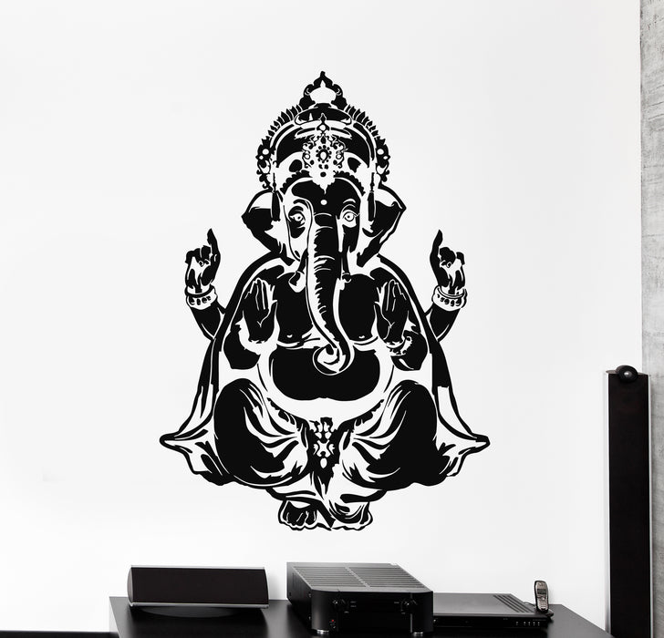 Vinyl Wall Decal Ganesha Head Elephant Indian God Hinduism Stickers Mural (g750)