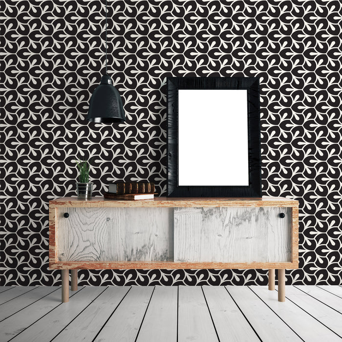 Abstract Geometric Leaves Pattern Multicolored Wallpaper Reusable Removable Accent Wall Interior Art (wal023)