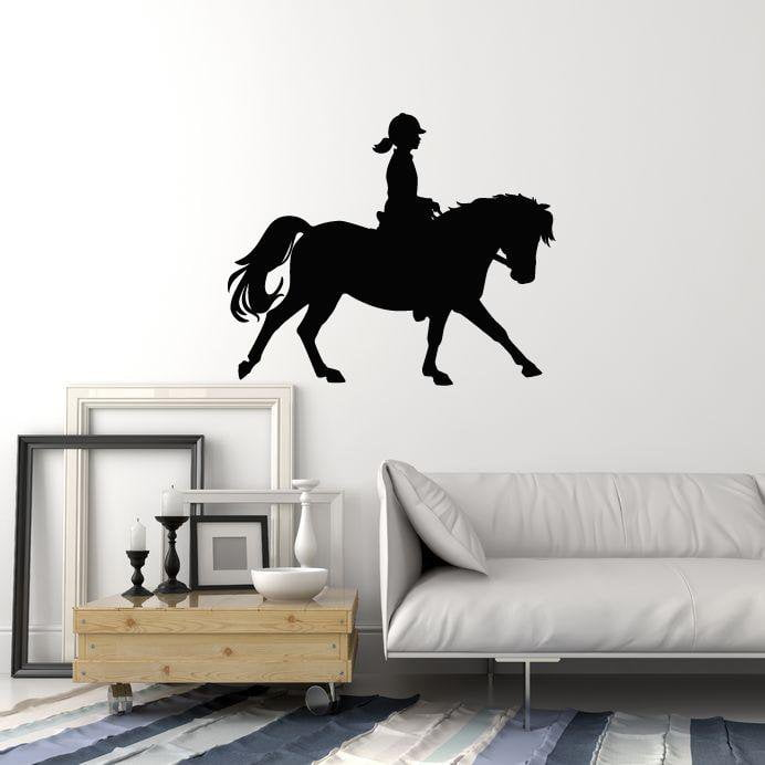 vinyl wall decal girl horse rider silhouette stable riding pony