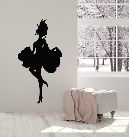 Wall Stickers Vinyl Decal Girl In Black Dress And Hat With Purse z2025