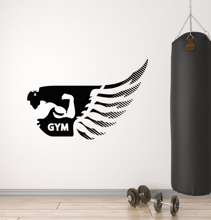 Vinyl Wall Decal Wing Muscle Body Gym Fitness Sport Stickers Mural (g1816)