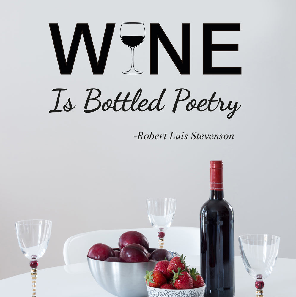 Vinyl Wall Decal Wine Is Bottled Poetry Restaurant Business  Stickers Mural 22.5 in x 14 in gz223