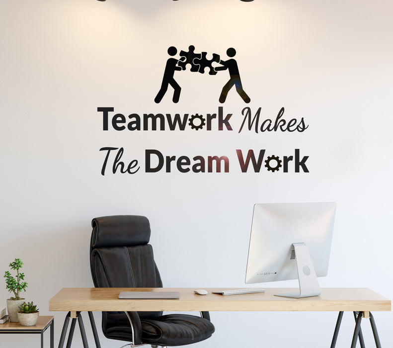 Vinyl Wall Decal Phrase Teamwork Makes Dream Work Office Decor Stickers Mural 35 in x 22 in gz227