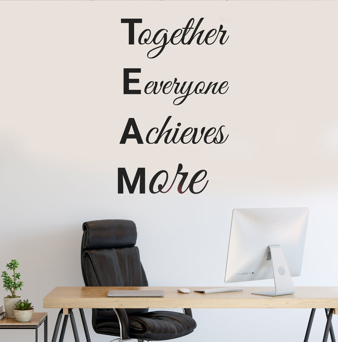 Vinyl Wall Decal Teamwork Motivation Words Work Office Stickers Mural 35 in x 22 in gz233