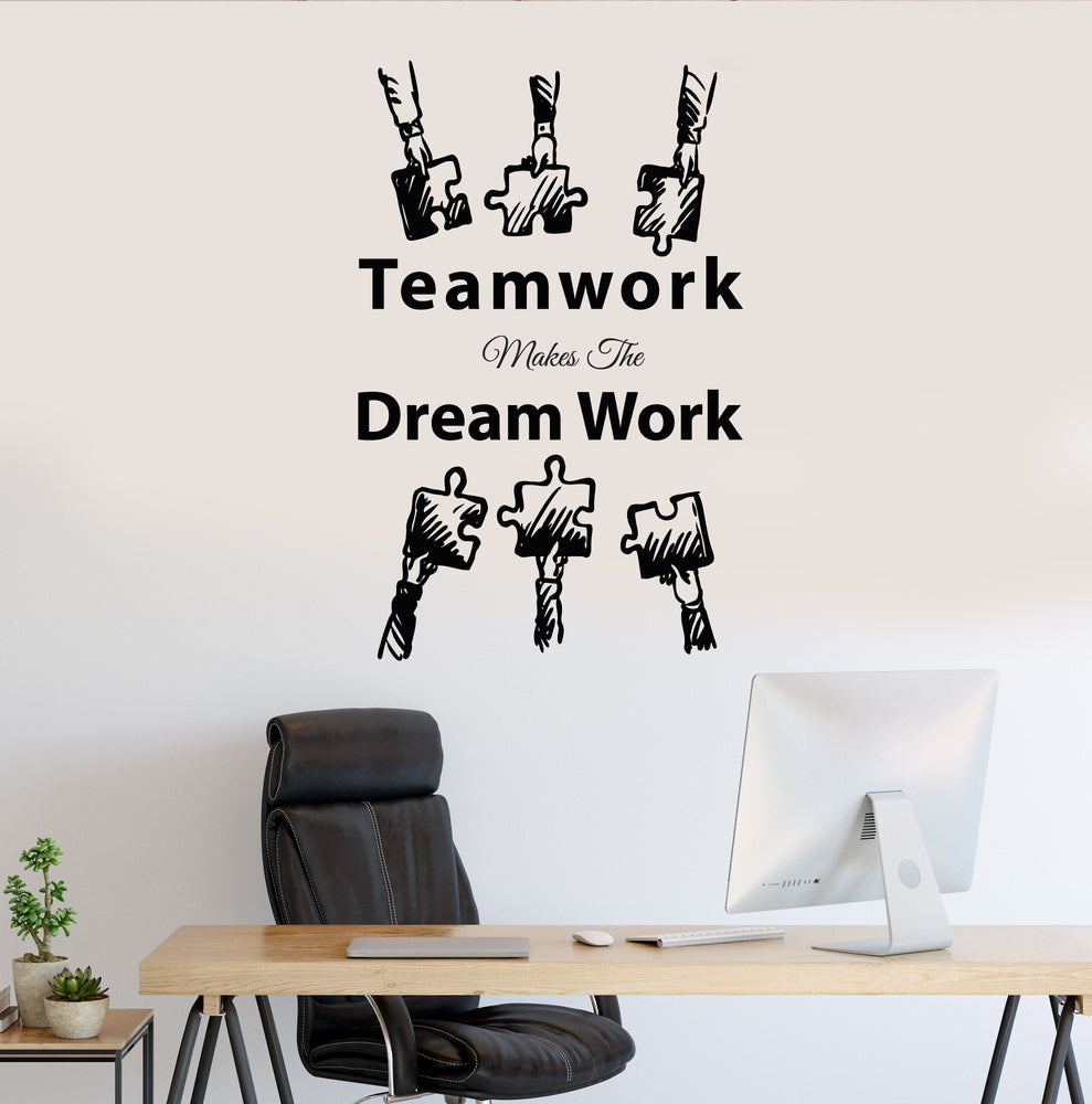 Vinyl Wall Decal Office Decor Teamwork Puzzle Dream Work Stickers Mural 35 in x 22 in gz238