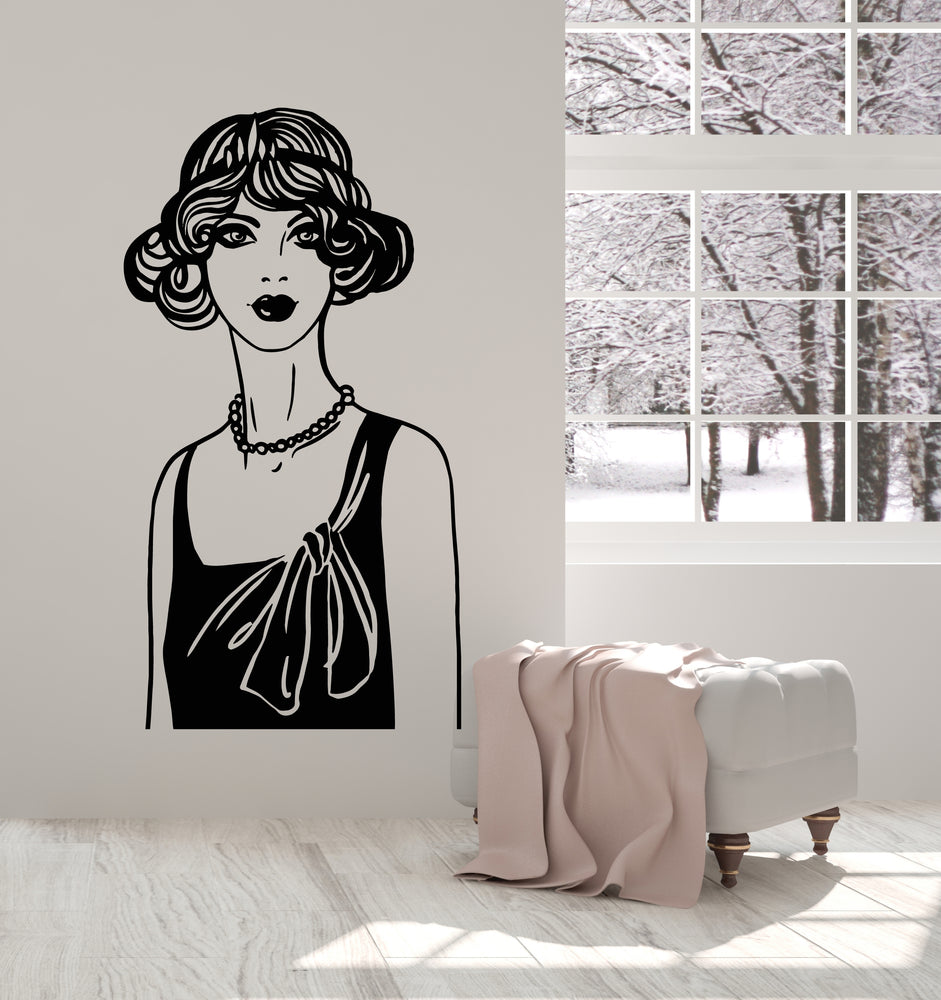 Vinyl Wall Decal Jazz Fashion Beauty Girl Retro Style Hair Salon Stickers Mural (g2703)