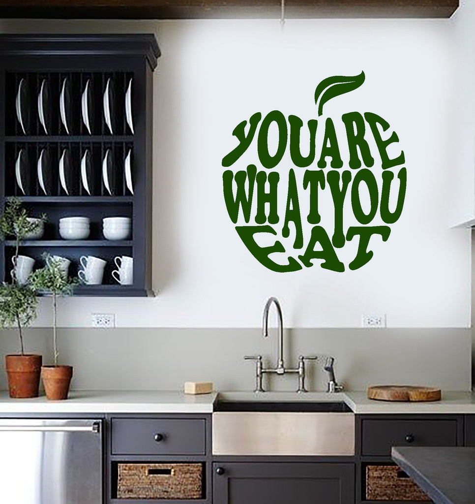 Vinyl Wall Decal Healthy Lifestyle Quote Apple Diet Inspire Art ...