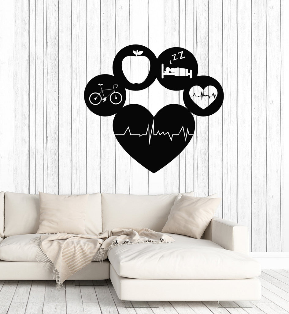 Vinyl Wall Decal Healthy Lifestyle Living Sports Gym Fitness Diet ...