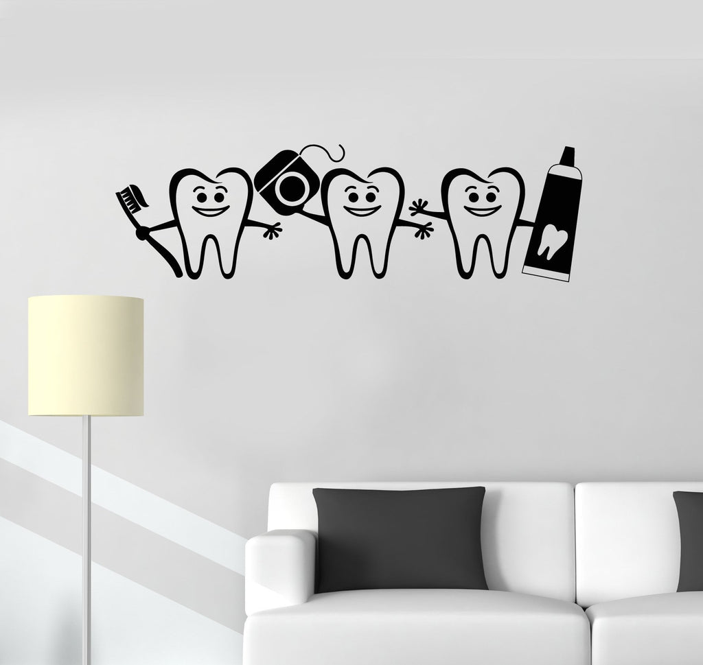 Vinyl Wall Decal Healthy Teeth Bathroom Dental Care Dentist Decor Stickers  Mural Unique Gift (ig5222