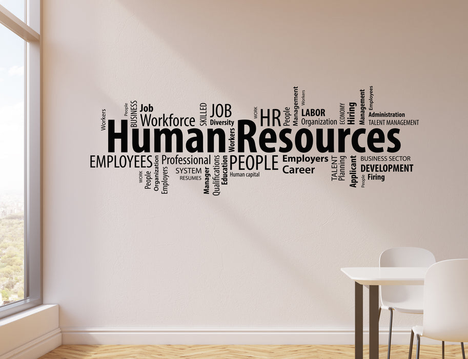 Vinyl Wall Decal Human Resources HR Words Cloud Management Office Stickers Mural (ig6223)