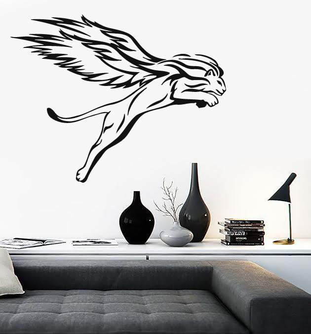 Vinyl Decal Cougar Tribal Animal Winged Cat Wall Stickers Unique Gift (i003)  sc 1 st  Wallstickers4you & Vinyl Decal Cougar Tribal Animal Winged Cat Wall Stickers Unique ...