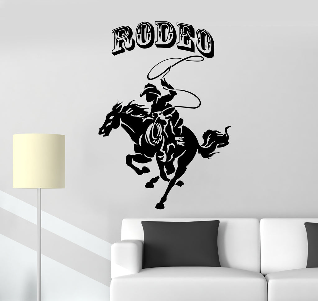 Vinyl Decal Rodeo Cowboy Rider Horse Racing Wall Stickers Mural Unique Gift (ig040)