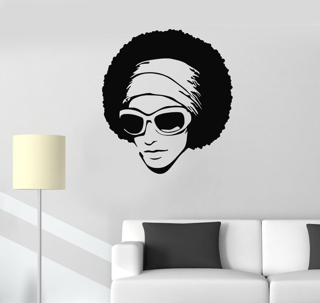Vinyl Decal Black African Woman Wall Stickers Hairstyle Hair Stylist Hair Salon Beauty Decor Unique Gift (ig070)
