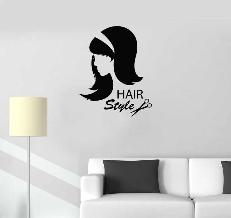 Vinyl Decal Hair Style Woman Beauty Salon Barbershop Stylist Wall Stickers Unique Gift (ig096)