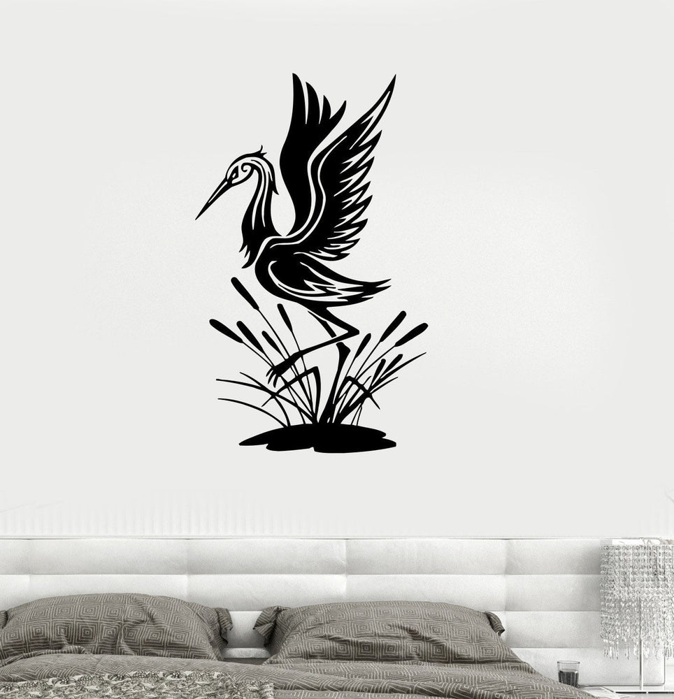 Vinyl Decal Egret Bird Zoo Living Room Decor Animal Wall Stickers Mural Unique Gift (ig111)