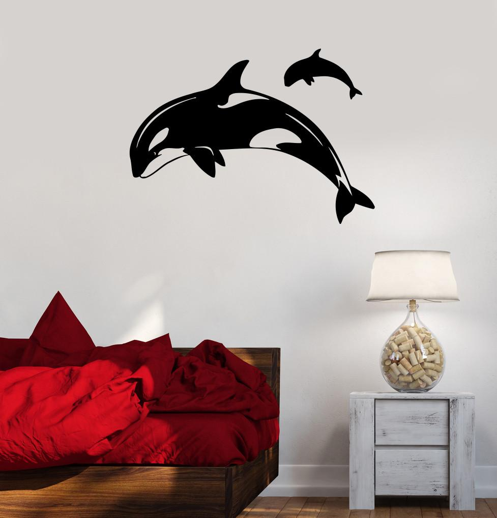 Vinyl Decal Whale Nautical Marine Ocean Sea Bathroom Decor Wall Stickers Unique Gift (ig112)