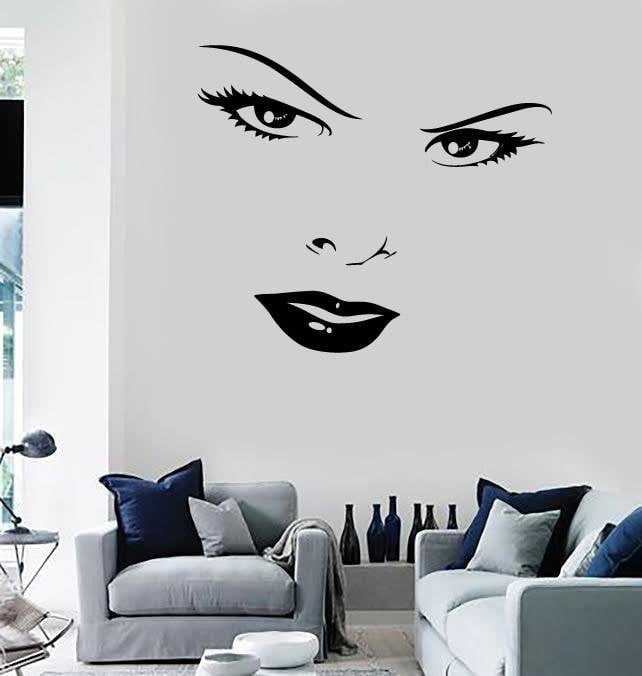 wall murals vinyl decal women's beautiful face eyes lips stickers