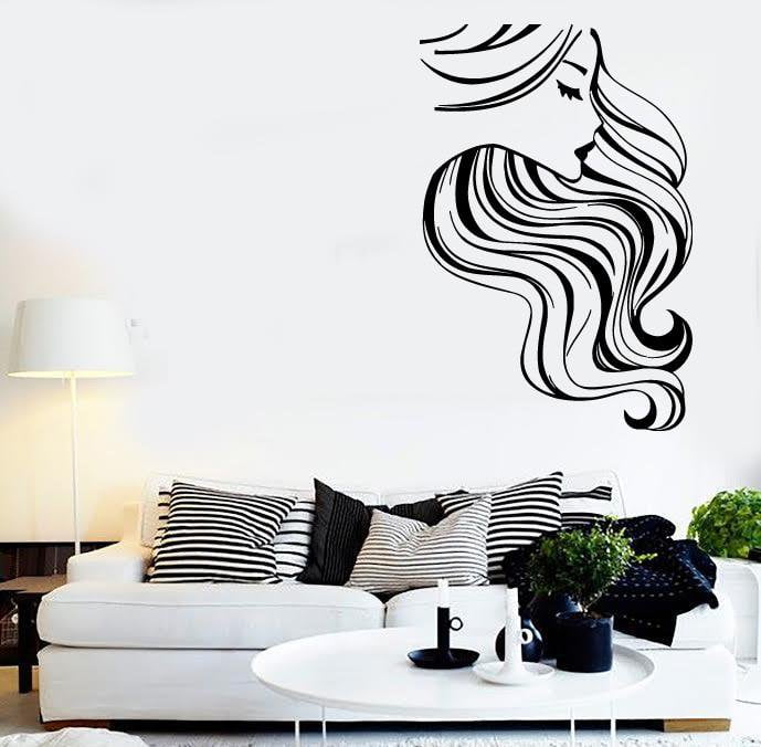 Wall Stickers Vinyl Decal Sexy Girl Long Hair Hairdresser Barbershop Unique Gift (ig1706)