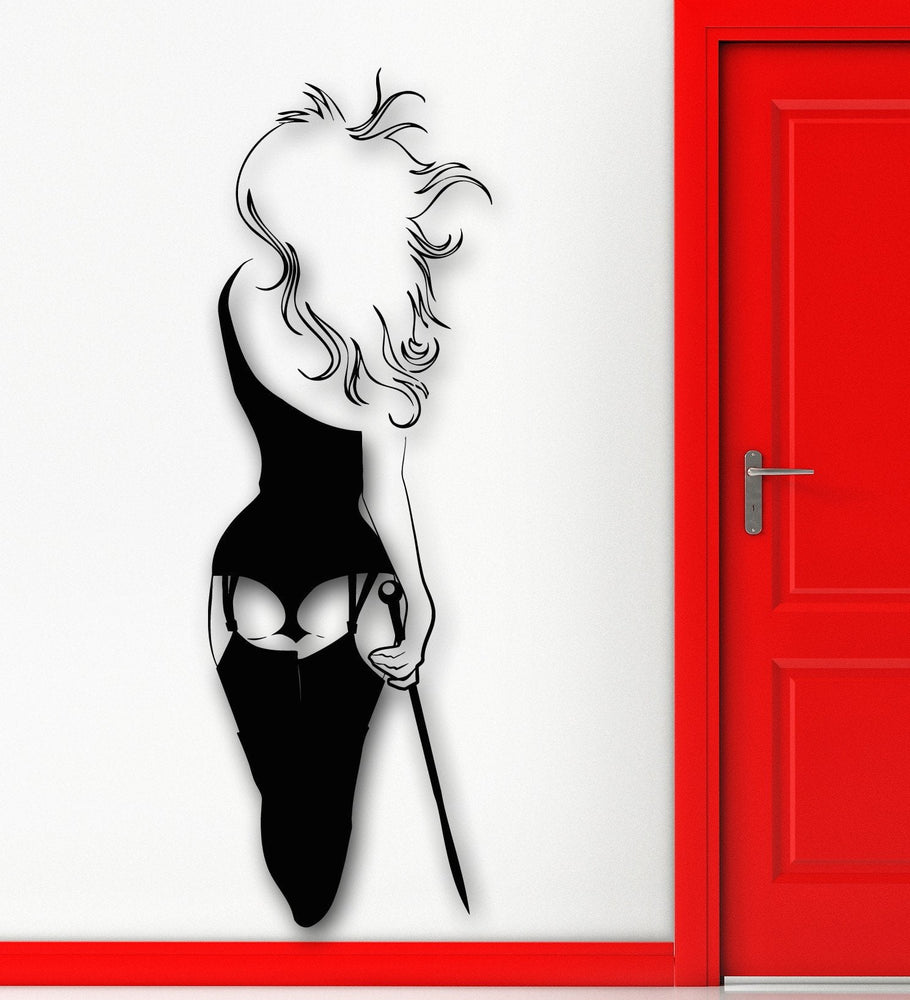 Vinyl Decal Wall Sticker Hot Sexy Girl's Naked Back in Stockings Adult Bedroom Decor Unique Gift (ig1770)