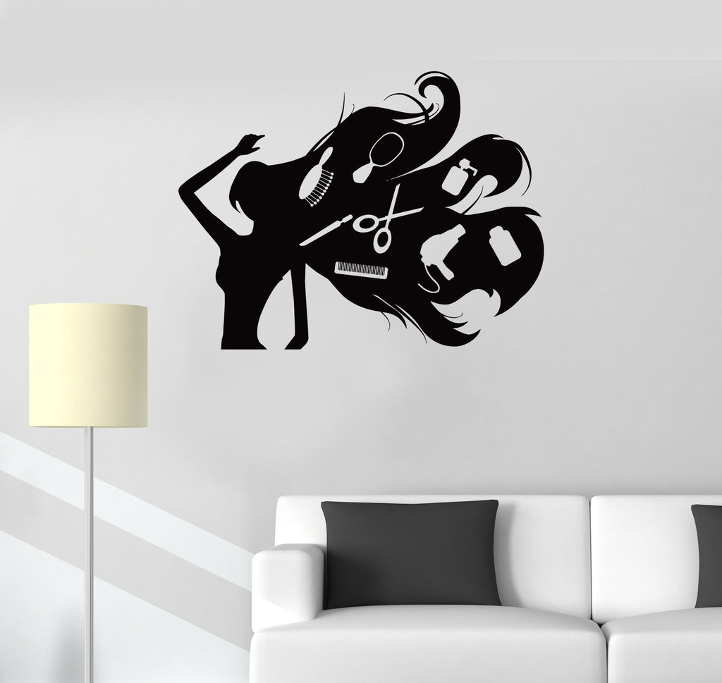 Vinyl Decal Hair Salon Hairdresser Stylist Beauty Spa Barbershop Wall Stickers Unique Gift (ig204)