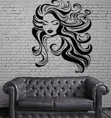 Beauty Salon Sexy Woman Hair Spa Makeup Barber Wall Sticker Vinyl Decal Unique Gift (ig2062)