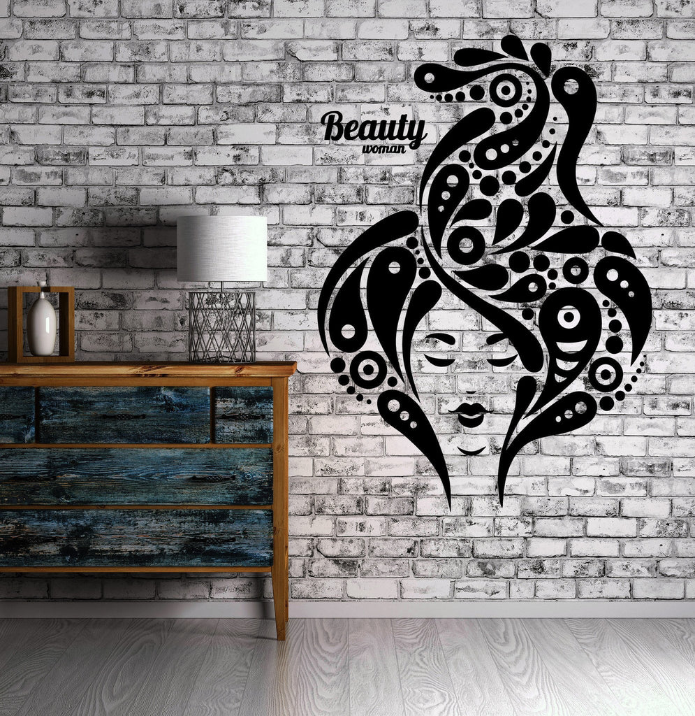 Beauty Salon Sexy Woman Hair Spa MakeupWall Sticker Vinyl Decal ig2068