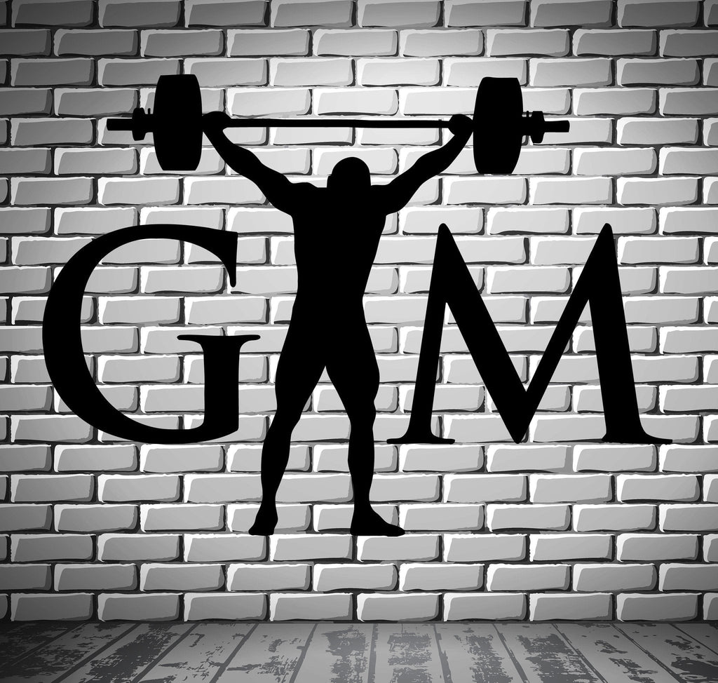 Gym Bodybuilding Barbell Sports Fitness Muscled Wall Sticker Vinyl Decal Unique Gift ig2070