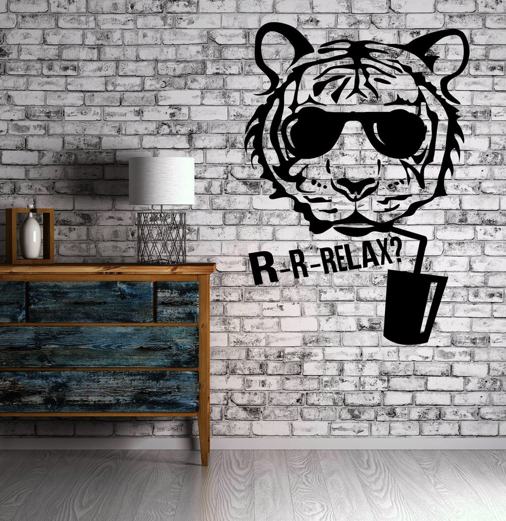 Tiger Cocktail Bar Nightclub Relax Wall Sticker Vinyl Decal Unique Gift (ig2075)