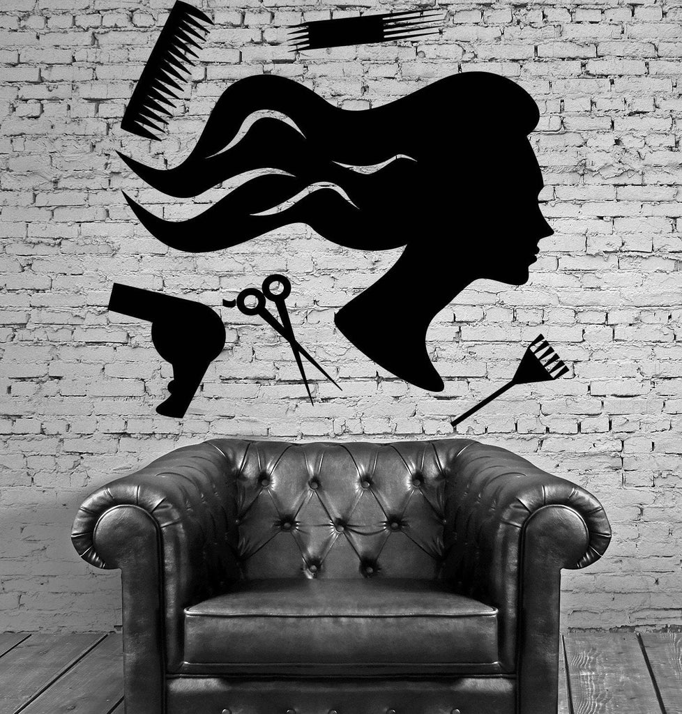 Beauty Salon Barber Tools Hair Hairdresser Wall Stickers Vinyl Decal (ig2114)