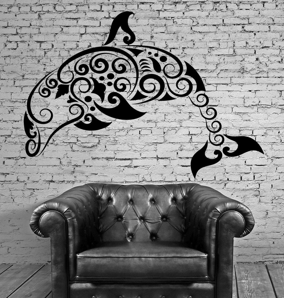 Dolphin Vinyl Decal Marine Ocean Bathroom Pattern Decor Wall Stickers (ig2315)