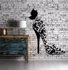 Shoe Vinyl Decal Fashion Butterfly Shopping Beauty Style Wall Stickers Unique Gift (ig2340)