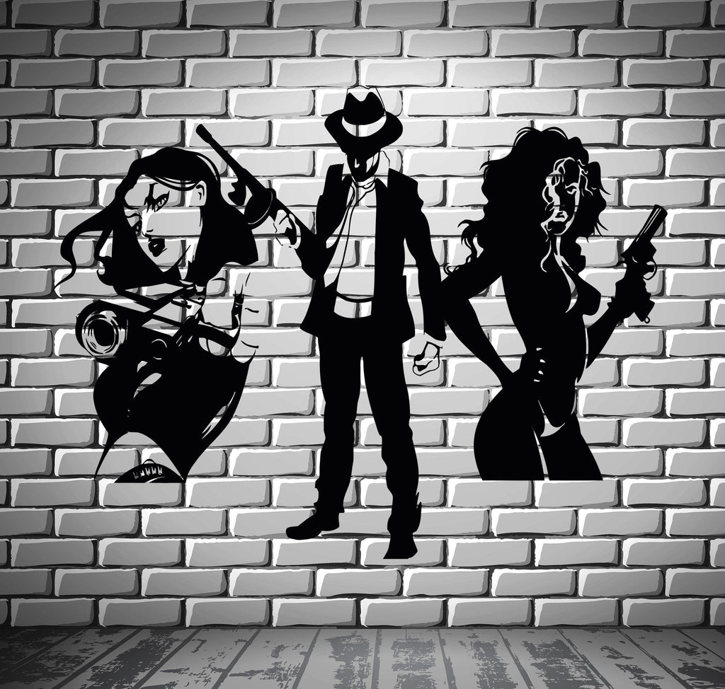 Mafia Wall Stickers Gangster Sexy Girl Gun Bandit Vinyl Decal Unique Gift (ig2352)