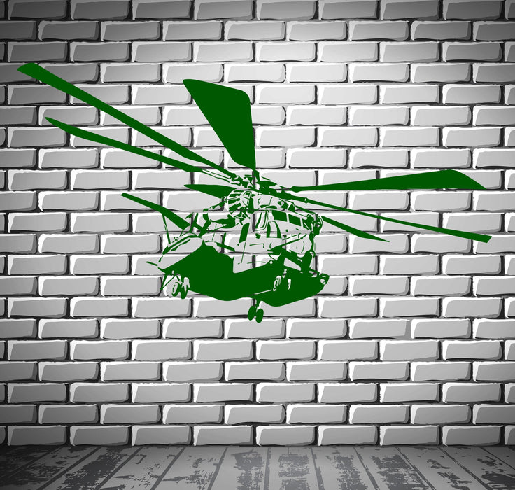 Helicopter Wall Stickers Military Aviation for Kids Nursery Vinyl Decal Unique Gift (ig2373)