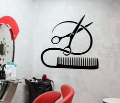 Vinyl Decal Barber Tools Wall Sticker Hairstyle Hair Stylist Hair Salon Beauty Decor (ig2387)